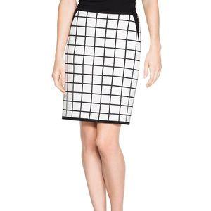 WHBM Windowpane Pencil Skirt